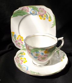Royal Albert Trio White With Gold Trim With Floral Design.