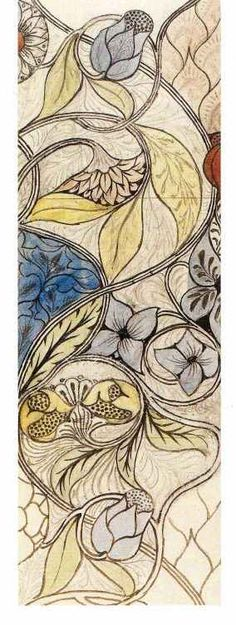 I am going to duplicate this in color pencil. May Morris - Embroidery Kit, c. 1885.