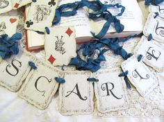 Alice in Wonderland Playing Card Customized Parchment Party Banner Garland  - Choice of Ribbon Colors