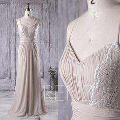 2016 Light Gray Bridesmaid Dress Long, V Neck Lace Wedding Dress, Spaghetti Straps Prom Dress, Open Back Formal Dress Floor Length (L148)