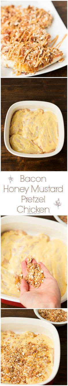 Bacon Honey Mustard Pretzel Chicken Awesomeness! ohsweetbasil.com