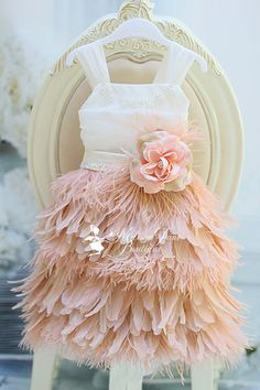 Blushing Blush Girls Feather Apron Dress by sharpsissors on Etsy, $168.00
