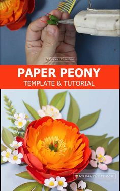 DIY Coral Charm peony from cardstock with full template and tutorial Paper Peonies, Crepe Paper Flowers, Fabric Flowers, Diy Paper, Paper Crafts, Coral Charm Peony, Silhouette Cameo, Orange Paper, Diy Home Crafts