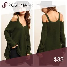 """Cold Shoulder Knitted Top PreOrder and Save Size Available:one-size🌺Sleeve Length: 19.78""""🌺Length:29.92""""🌺Bust: 39.37""""🌺Fabric has some stretch🌺100% Acrylic Please note that this is not in stock yet. I am offering a 10% discount for pre-ordering this top. Expected arrival mid to late March.🌸please note that these come direct from my distributor without tags, they are shipped in a clear plastic bag… No tag. Tops Tees - Long Sleeve"""
