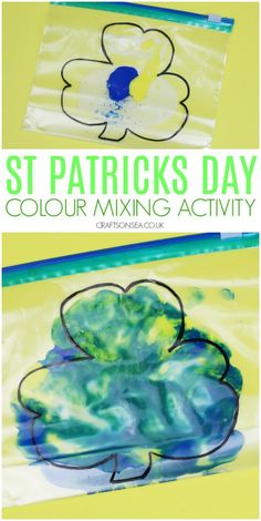 Colour Mixing Activity for St Patricks Day - St. Patrick's Day Ideas - St Patricks Day crafts for kids toddlers colour mixing activity - March Crafts, St Patrick's Day Crafts, Daycare Crafts, Baby Crafts, Toddler Crafts, Holiday Crafts, Kids Crafts, Holiday Ideas, Infant Crafts