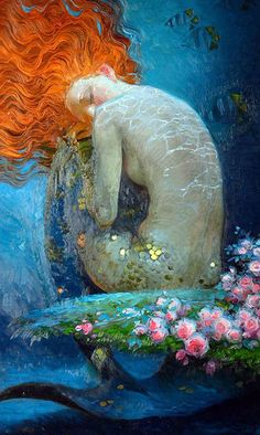 Beautiful mermaid painting by Victor Nizovtsev. Art And Illustration, Victor Nizovtsev, Inspiration Artistique, Mermaid Fairy, Mermaids And Mermen, Merfolk, Mythical Creatures, The Little Mermaid, Amazing Art