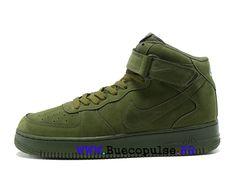 finest selection 5f7c2 a5cec Nouveau Nike Air Force 1 Chaussures classiques Pas Cher Pour Femme Enfant  Vert 315123-