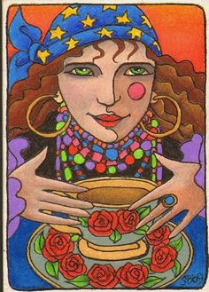 Reading the Tea Leaves (sold) - by Shelly Bedsaul from Cartoon Illustrative Work Art Gallery Reading Tea Leaves, Tea Reading, Funny Vintage Ads, The Little Prince, Orient, Art Portfolio, Vintage Tea, Tarot Cards, Occult