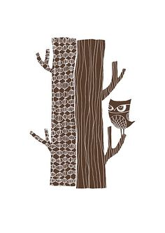 Tree Trunk Owl in Chocolate Brown