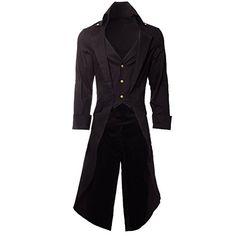 Steampunk Grim Long Coat (Black) - X-Large