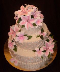 pink tropical wedding cake bridal wedding cake Repinned by Moments Photography www.MomentPho.com