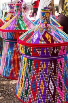 Ethiopian baskets - cheerful, vivid - fun - love the SIZE...
