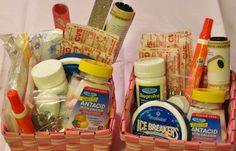 """Make sure your guests stay comfortable at the wedding with DIY """"save a guest"""" kits.    For the men's kit, I had:  Tide pen,  Lint roller,  Band-aids,      Antacids,      Ibuprofen,      Floss,      Safety pins,      Breath mints.    For the women's kit, I had all the above items, as well as:        Nail files,      Bobby pins,      Tampons,      Pads/panty liners"""