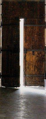 Rustic entrance doors, image via French Home by Josephine Ryan, edited by lb for linenandlavender.net