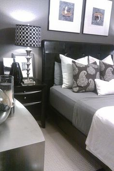 For the home masculine decor on pinterest grey for Well decorated bedroom
