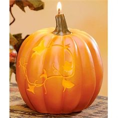 Autumn Orange Pumpkin Spice Scented and Shaped Candles with Leaf Design