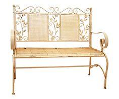 Panchina in ferro Loïs bianco anticato, 110x97x50 cm