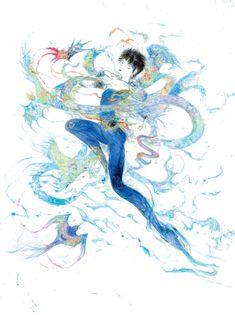 羽生結弦選手のイメージ画公開。作者は『陰陽師』CDジャケットを描いた天野喜孝 | BARKS