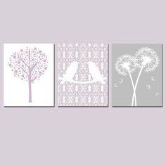 Kids Wall Art Nursery Trio - Set of Three 8x10 Prints - Lovebirds, Tree Dot, Dandelion Floral - Choose Your Colors on Etsy, $55.00