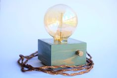 Mould Green handmade wooden design table lamp with by MooMaaHome