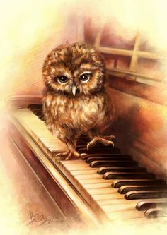 owl on piano by Vasilisa Volkova