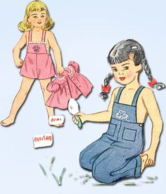 """Simplicity Pattern 1687 Toddler Girl's Overalls and Smock Top Dated 1945 Complete Nice Condition Counted. Verified. Guaranteed. Nice Condition Overall Size 1 (20"""" Bust)"""