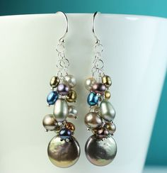Cluster of pearls dangle earrings / Freshwater colored by art4ear, $45.00