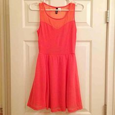 BNWOT Coral Mesh Sweetheart Skater Dress Never worn, fully lined, true coral color not as orange as photo, check last photo for deals H&M Dresses Mini