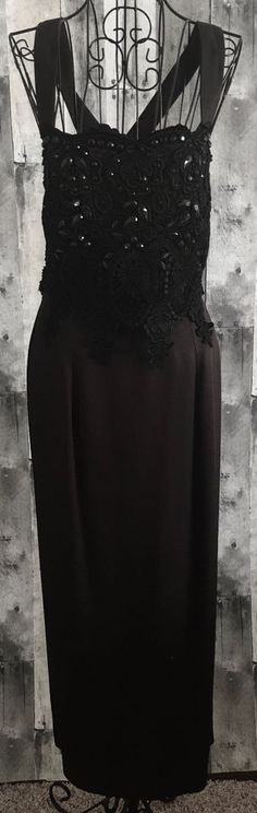 VTG Jessica McClintock Beaded Lace Gown Dress Black Fitted Lined Size10 #JessicaMcClintock #DressGown #Formal