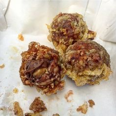 Deep fried Ferrero Rocher from Sutton and Sons Chip shop. Take any chocolate bar in and they will deep fry it for free!