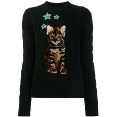 Dolce & Gabbana Bengal Cat patch jumper ($1,373) ❤ liked on Polyvore featuring tops, sweaters, black, sequin jumper, cable sweater, long sleeve sweater, sequined tops and cable knit sweater