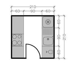 Kitchen Layout Plans, Open Plan Kitchen, Kitchen Interior, Kitchen Design, Movement In Architecture, Kitchen Measurements, Kitchen Wall Cabinets, Vintage House Plans, Dressing Room Design