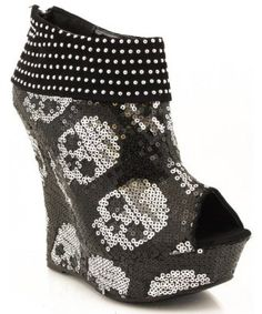 Liliana sparkly skull wedges shoes - I shall call you sparkly and you shall be mine and you shall be my sparkly. Shoes Heels Boots, Wedge Shoes, Heeled Boots, Skull Shoes, Wedge Bootie, Crazy Shoes, Me Too Shoes, Killer Heels, Girly Things