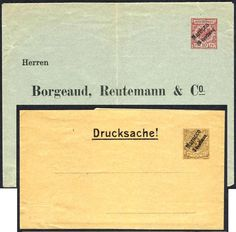 German Colonies, DP-Marokko 1899, 2 Privat-Ganzsachen, ungebraucht Pracht (Mi.-Nr.PU 1 PS 1). Price Estimate (8/2016): 20 EUR.