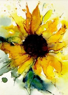 Watercolor Sunflower, Sunflower Art, Abstract Watercolor, Watercolor Paintings, Sunflower Paintings, Watercolors, Watercolor Ideas, Watercolor Artists, How To Paint Watercolor