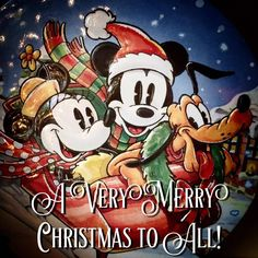 Very Merry Christmas to All Mickey & Minnie Disney Merry Christmas, Disney Christmas Decorations, Mickey Mouse Christmas, Mickey Mouse And Friends, Christmas Quotes, Vintage Christmas Cards, Christmas Pictures, Disney Holidays, Minnie Mouse