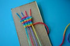 weaving - the boys did this at day camp last year and loved it!  Conner wanted to come home and make a scarf.  :) - Re-pinned by #PediaStaff.  Visit http://ht.ly/63sNt for all our pediatric therapy pins