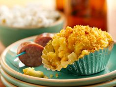 Mac and Beer Cheese Cups - Wisconsin favorites beer and cheese meet in these savory cupcakes. Garnish with beer brats or popcorn to give a real Badger State feel! Mac And Cheese Cupcakes, Beer Mac And Cheese, Savory Cupcakes, Mac Cheese, Beer Cupcakes, Savory Muffins, Cheese Food, Macaroni Cheese, Cheddar Cheese