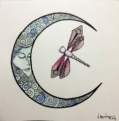 Moon and dragonfly