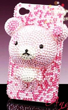 Crystal teddy bear bling DIY phone case kit for iphone,htc etc tool/glue kit & case included.
