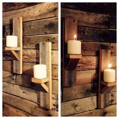 Two Vintage Barn Wood Candle Holders. Wall by SycamoreStVintage