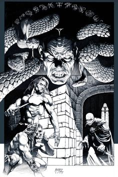 "Shadow of Serpents Ink version cover art for ""Kull copyright Dark Horse Comics Here's my ink line art for the cover to Kull It was actually th. Shadow of Serpents: Ink Ink Illustrations, Illustration Art, Dungeons And Dragons Rules, Tracing Art, Character Art, Character Design, Sword And Sorcery, Black And White Drawing, Sci Fi Art"