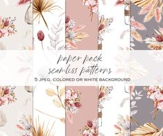 Tropical Leaves, Tropical Flowers, Watercolor Paper, Watercolor Flowers, Fall Bouquets, Free Advertising, Flower Clipart, Pampas Grass, Print Templates