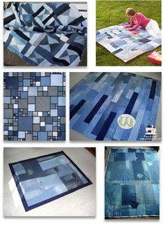 DIY Denim Crafts: Quilt Inspiration: Free pattern day ! Denim quilts - DIY Refashion
