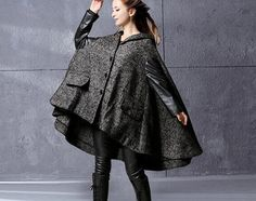 Winter Wool Cape Coat Grey Poncho Style High by camelliatune