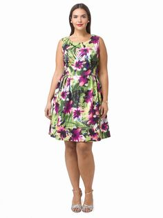 Tropical Print Scuba Dress