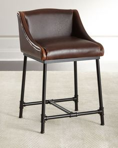 $699 Fairfield+Leather+Barstool+u0026+Counter+Stool+at+Horchow
