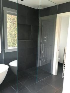Ambiente European Tile Design | Villeroy and Boch Anthracite Bathroom Glass Shower Tile Inspiration, European Tiles, Glass Shower, Tile Design, Glass Bathroom, Tile Showroom, Bathroom, Bathroom Inspo, Bathrooms Remodel