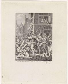 Theodoor Koning | Moord te Haarlem, 1573, Theodoor Koning, Johannes Smit & Zoon, Willem Vermandel, 1780 | Moordpartij aangericht door Don Frederik en de Spaanse soldaten te Haarlem, 1573. Op de voorgrond dreigt Don Frederik een vrouw met kind en een biddende monnik af te ranselen. Achter Don Frederik bevindt zich een groep moordende Spaanse soldaten, waarvan er één het hoofd van een vrouw op zijn lans heeft geprikt. Vanuit een huis worden een vrouw en een kind uit het venster gegooid. Op de…
