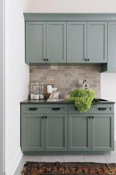 If you are looking for Green Kitchen Cabinets Design Ideas, You come to the right place. Here are the Green Kitchen Cabinets Design Ideas. Green Kitchen Cabinets, Kitchen Cabinet Colors, Painting Kitchen Cabinets, Kitchen Paint, Kitchen Decor, Kitchen Counters, Kitchen Layout, Rustic Kitchen, Kitchen Ideas Color